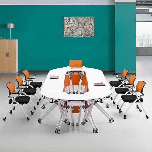 高校智慧教室课桌椅椭圆组合