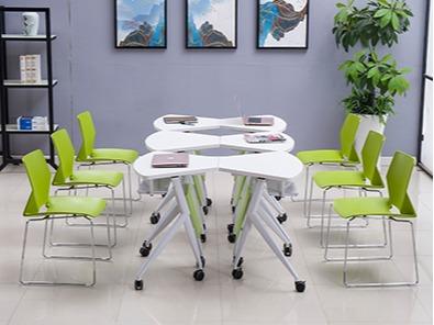 课桌椅厂家单人位扇形桌实拍组合3