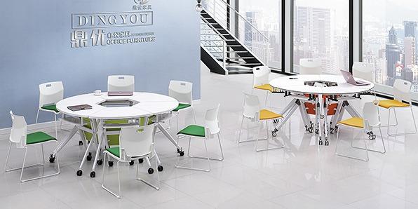 课桌椅厂家单人位扇形桌实拍组合1