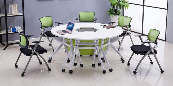 课桌椅厂家单人位扇形桌实拍组合2