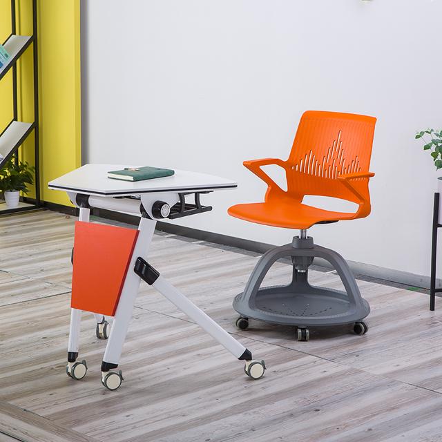 单人课桌椅不同角度展示1