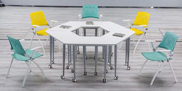 校用课桌椅,六边梯形桌实拍图2