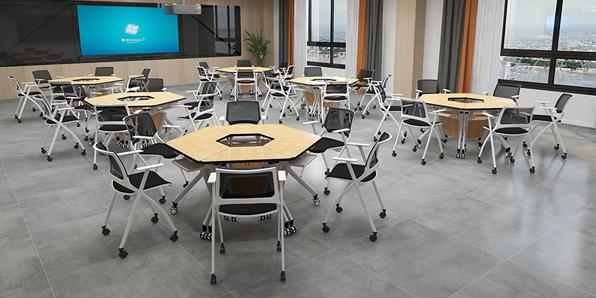 智慧教室梯形桌椅实拍图2