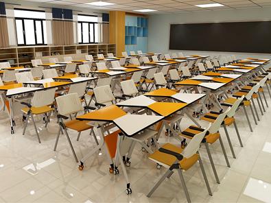 智慧教室梯形桌椅实拍图3