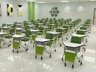 智慧教室梯形桌椅实拍图5