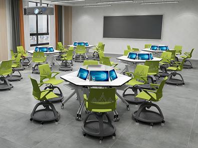 智慧教室梯形桌椅实拍图14