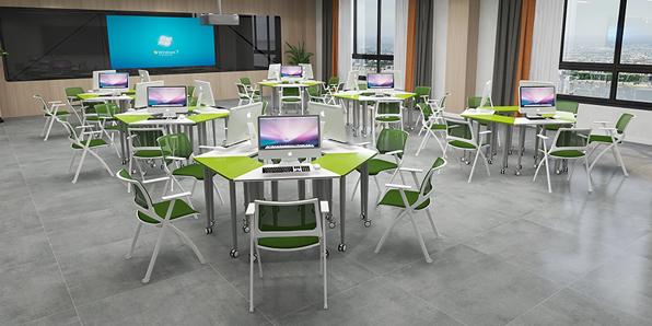 智慧教室拼接桌椅场景展示2
