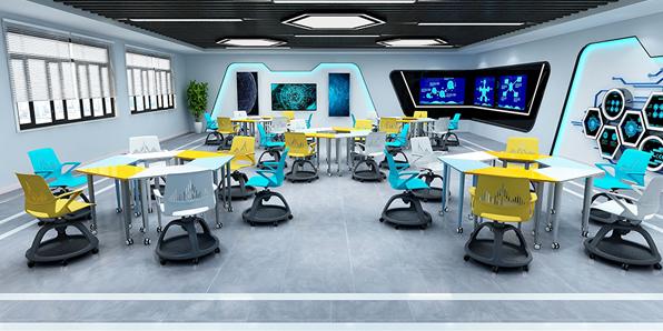 智慧教室拼接桌椅场景展示1