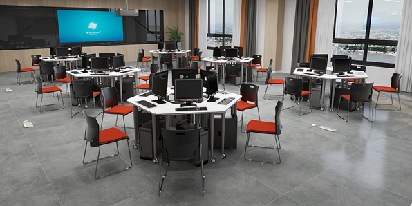 录播室六边形桌椅场景展示1