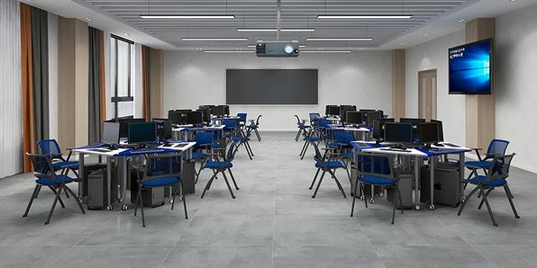 录播室六边形桌椅场景展示2