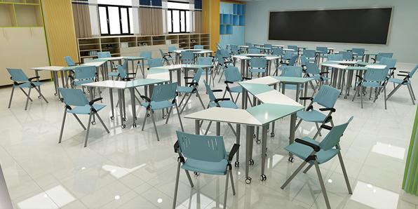 多功能大学教室课桌椅场景展示1