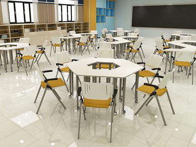 校用课桌椅,六边梯形桌实拍图5