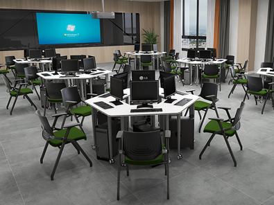 校用课桌椅,六边梯形桌实拍图4
