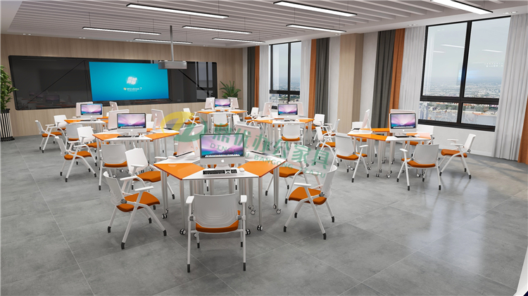 多媒体课堂六边形桌
