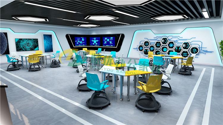 多媒体课室六边形桌